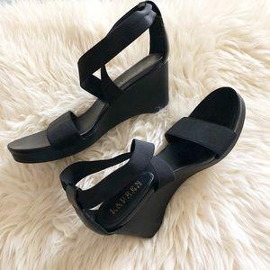Ralph Lauren Black Wedge Sandals